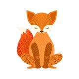 Animal sauvage de bande dessinée décontractée de Fox avec les yeux fermés décorés des motifs et des modèles floraux de style de h Photographie stock