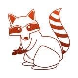 Animal sauvage de raton laveur sur les lignes rouges Illustration Stock