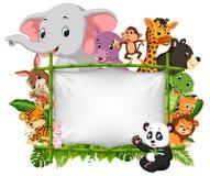Animal sauvage se tenant sur un cadre en bambou illustration de vecteur