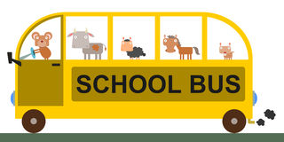 Animal school bus Royalty Free Stock Image