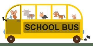 Animal school bus Royalty Free Stock Image