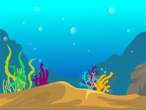 Underwater Scene With Coral Reef stock illustration