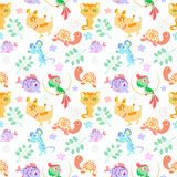 Animal seamless. Pattern with cartoon pets Royalty Free Stock Photography