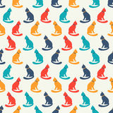 Animal seamless pattern of cat silhouettes Stock Image