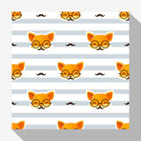 Animal seamless pattern collection with fox Stock Photography