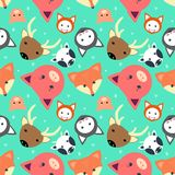 Animal seamless pattern with cow, fox. cat. dear, pig in flat design vector illustration