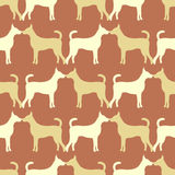Animal seamless  pattern of dog silhouettes Stock Photo
