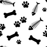Animal seamless pattern with fish bones and cat paw track, bones and dog paw track. Vector illustration royalty free illustration