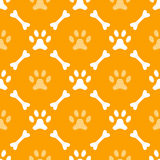 Animal seamless  pattern of paw footprint and bone Stock Images