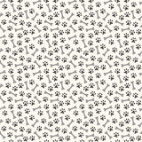 Animal seamless  pattern of paw footprint and bone Royalty Free Stock Images