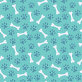 Animal seamless  pattern of paw footprint and bone Stock Image