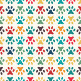 Animal seamless pattern of paw footprint. Endless Stock Photo