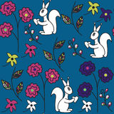 Animal seamless pattern with sguirrels  and seamless pattern in Stock Images