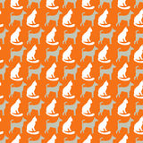 Animal seamless vector pattern of cat and dog Stock Image