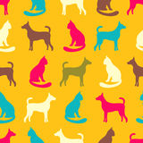 Animal seamless vector pattern of cat and dog silhouettes Royalty Free Stock Image