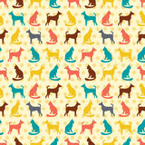 Animal seamless vector pattern of cat and dog silhouettes. Royalty Free Stock Photos