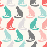 Animal seamless vector pattern of cat silhouettes Stock Image