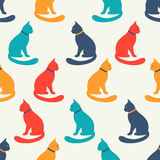 Animal seamless vector pattern of cat silhouettes Royalty Free Stock Image