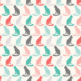 Animal seamless vector pattern of cat silhouettes Stock Images