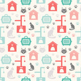 Animal seamless vector pattern of cat silhouettes Stock Photos