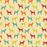 Animal seamless vector pattern of dog silhouettes Stock Photos