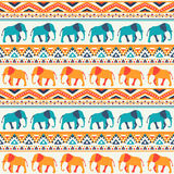 Animal seamless vector pattern of elephant Stock Image