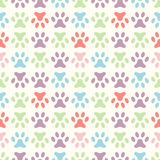 Animal seamless vector pattern of paw footprint. Royalty Free Stock Photo