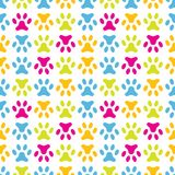 Animal seamless vector pattern of paw footprint. Stock Images