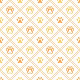 Animal seamless vector pattern of paw footprint, Royalty Free Stock Photos