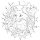 Animal selvagem da raposa dos desenhos animados estilizados e flores violetas Esboço a mão livre para a anti página adulta do liv ilustração stock