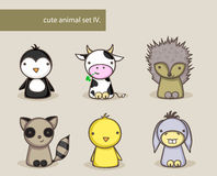 Animal set. Collection of six cute cartoon animals Royalty Free Stock Image