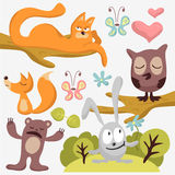 Animal set. Set of cute wild animals stock illustration