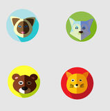 Animal Set Flat Icon. For website, marketing, public advertaising, fun design for wallpaper, drawing book, poster Stock Photography