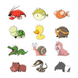 Animal set 1. Funny Animal Vector illustration Icon Set Stock Images