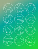 Animal set icon. Line design Stock Photos