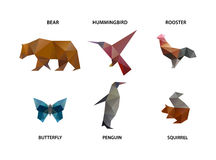 Animal set of polygons Royalty Free Stock Photo