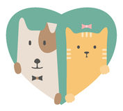 Animal set. Portrait of a dog and cat in love over Royalty Free Stock Photo
