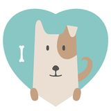 Animal set. Portrait of a dog in love in flat Royalty Free Stock Photos