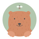 Animal set. Portrait in flat graphics. Bear Stock Image