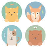 Animal set. Portrait in flat graphics. Cat, fox Stock Photo