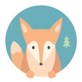 Animal set. Portrait in flat graphics. Fox Stock Image