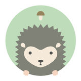 Animal set. Portrait in flat graphics. Hedgehog Royalty Free Stock Image