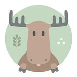 Animal set. Portrait in flat graphics. Moose Stock Image