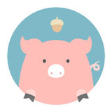 Animal set. Portrait in flat graphics - Pig Stock Photography