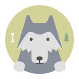 Animal set. Portrait in flat graphics. Wolf Royalty Free Stock Images