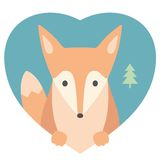 Animal set. Portrait of a fox in love in flat Royalty Free Stock Photo