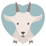 Animal set. Portrait of a goat in love in flat Royalty Free Stock Image