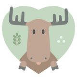 Animal set. Portrait of a moose in love in flat Stock Photography