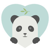Animal set. Portrait of a panda in love over heart Stock Photo