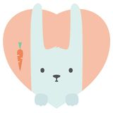 Animal set. Portrait of a rabbit in love in flat Royalty Free Stock Image